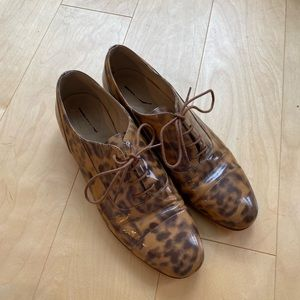 Patent Leopard Oxfords